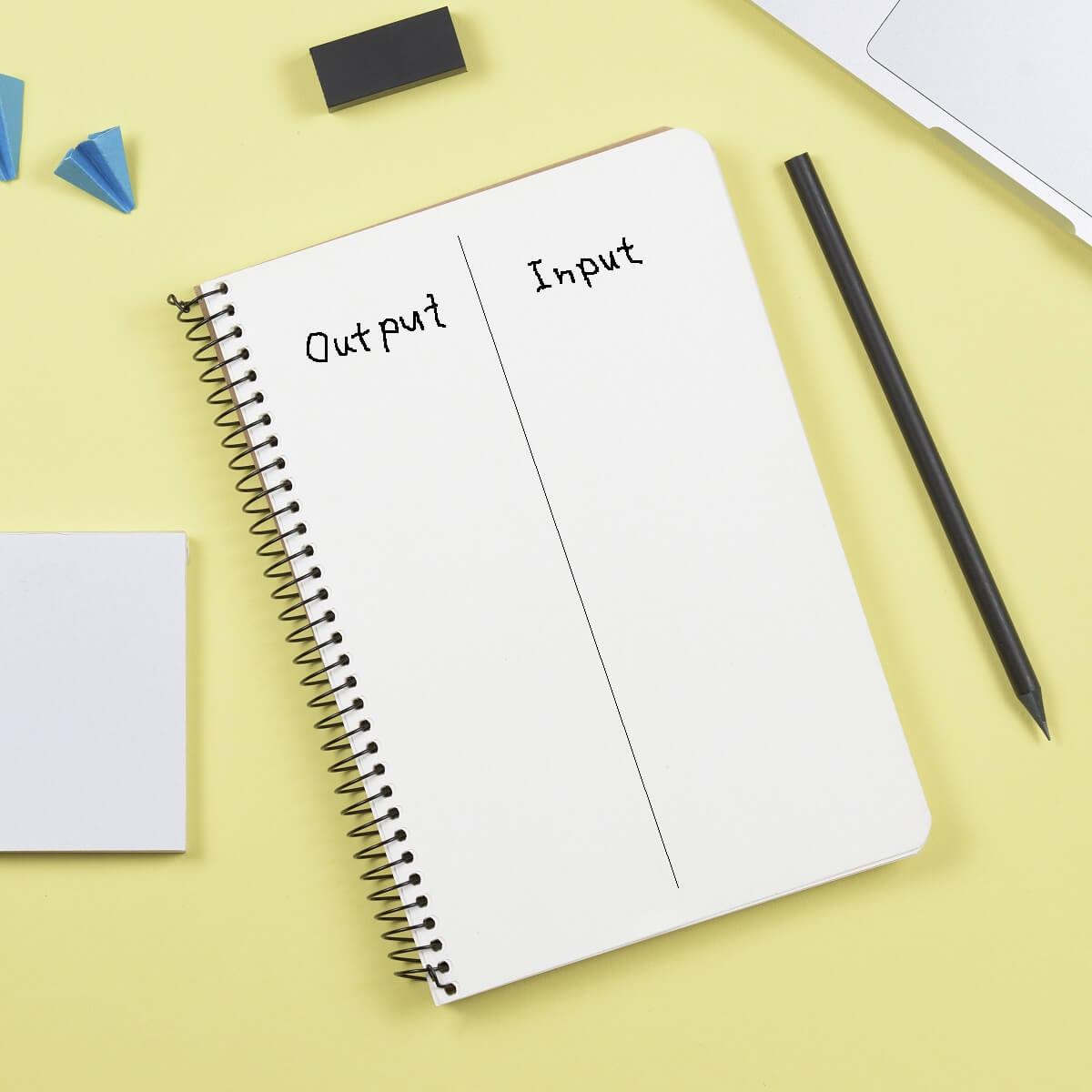 左側にOutput、右側にInputと書かれたノート。