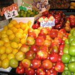 果物が並んでいる様子。