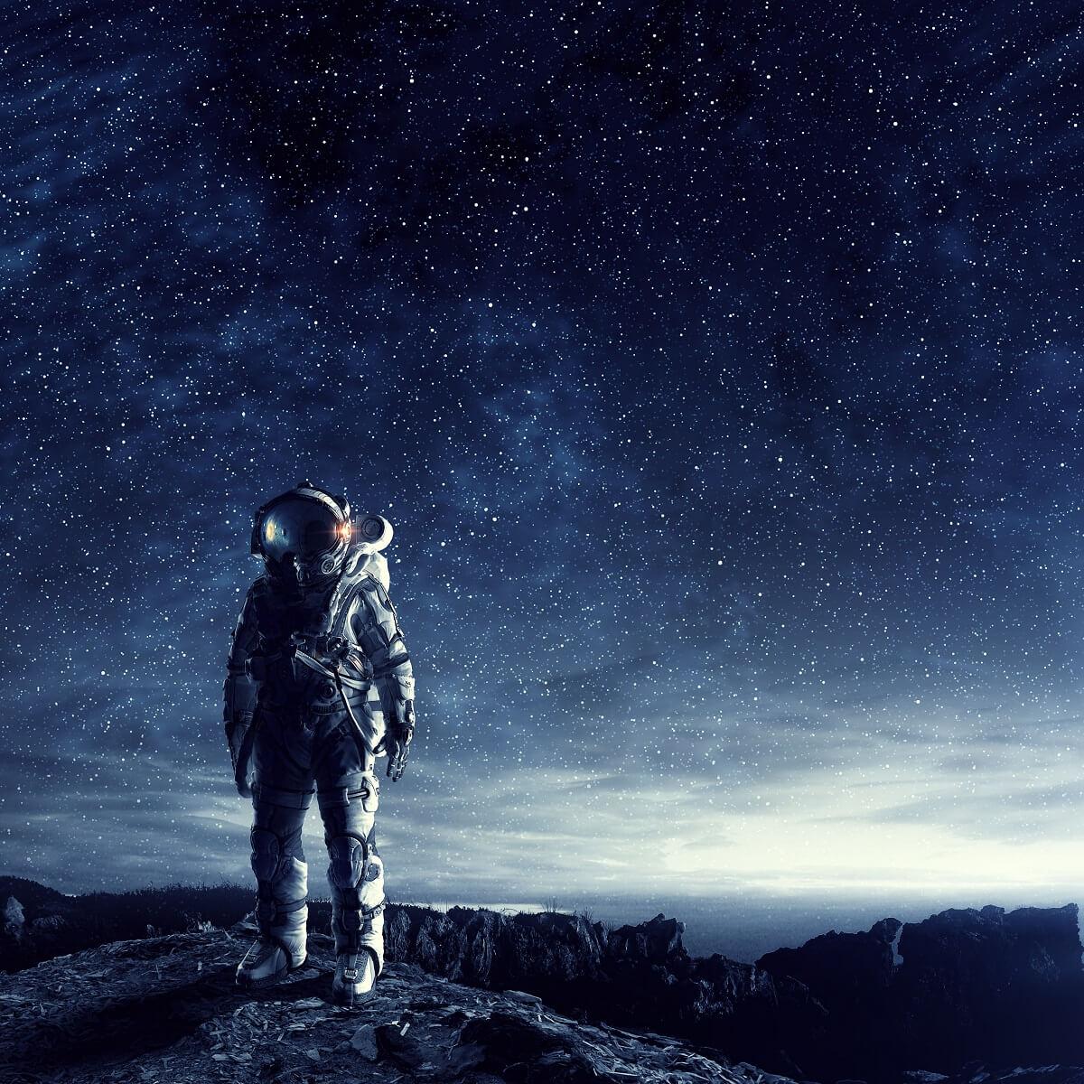宇宙飛行士が宇宙を探索している様子。