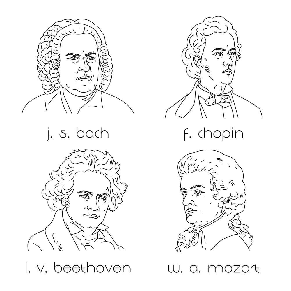 バッハ、ショパン、ベートーベン、モーツアルトのイラスト