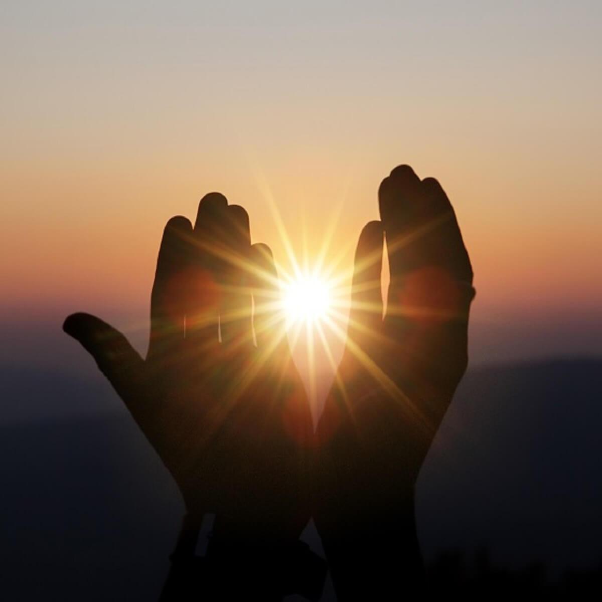 太陽を手で包み込んでいる様子の写真