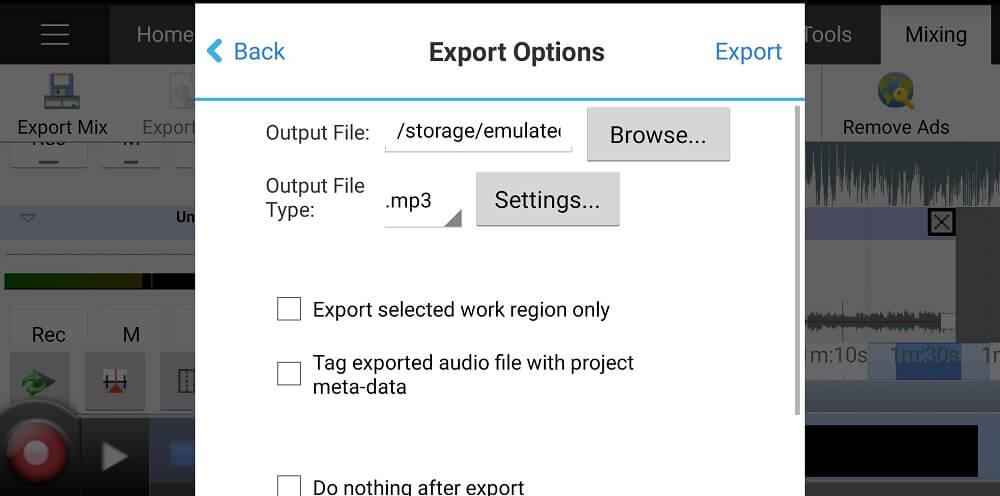 MixPadというスマホアプリの操作画面(ファイルの出力)