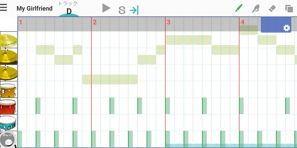 musicLineの操作画面でドラムパターンを入力しているところ