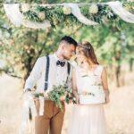森の中の結婚式の写真で新郎と新婦が写っている。