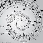 ピアノの楽譜がスパイラル上に描かれているイラスト