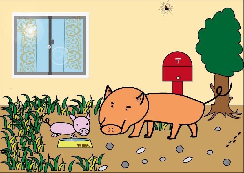 「ペットのブタ」というアート。作者は颯 Sou。2020年5月8日に絵を完成。初めてPCソフトのIllustratorを使った作品。