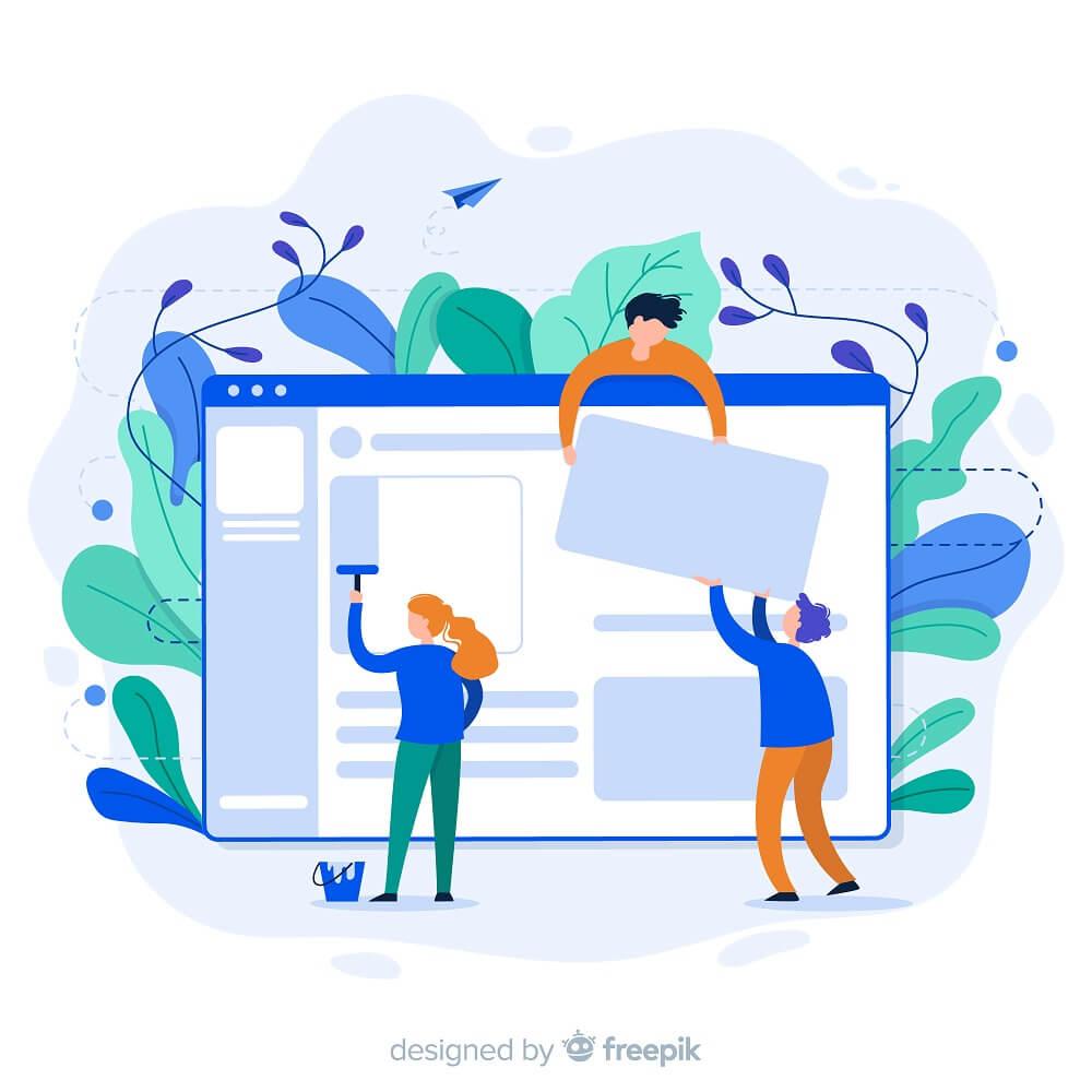 Webをデザインしている様子のイラスト
