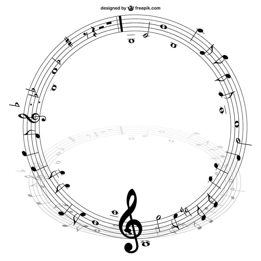 音楽の五線譜がサークルを描いている様子