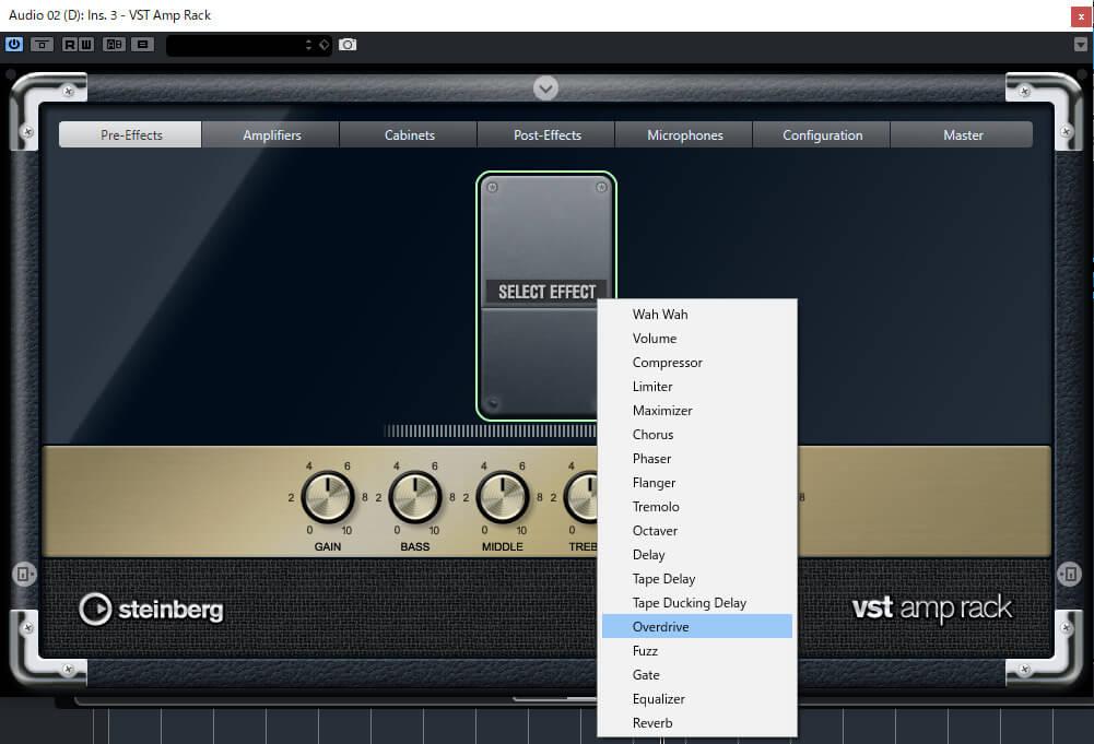 Cubase ElementsのVST amp Rackでオーバードライブを表示