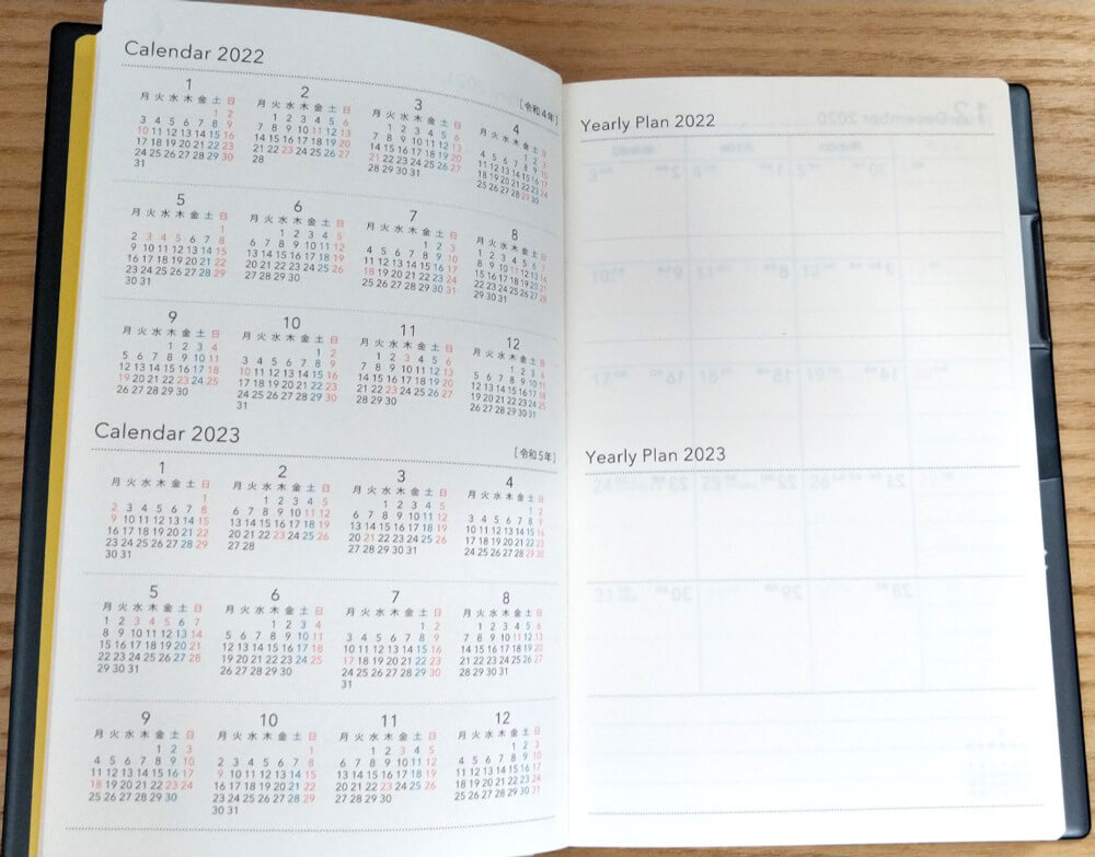 NOLTY U Weeklyの手帳の中身。Yearly Planの画像。