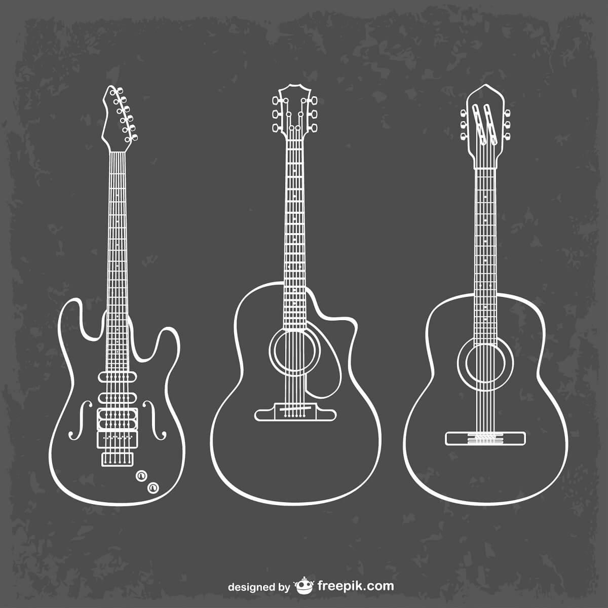 エレキギターとアコースティックギターとクラシックギターのイラスト。