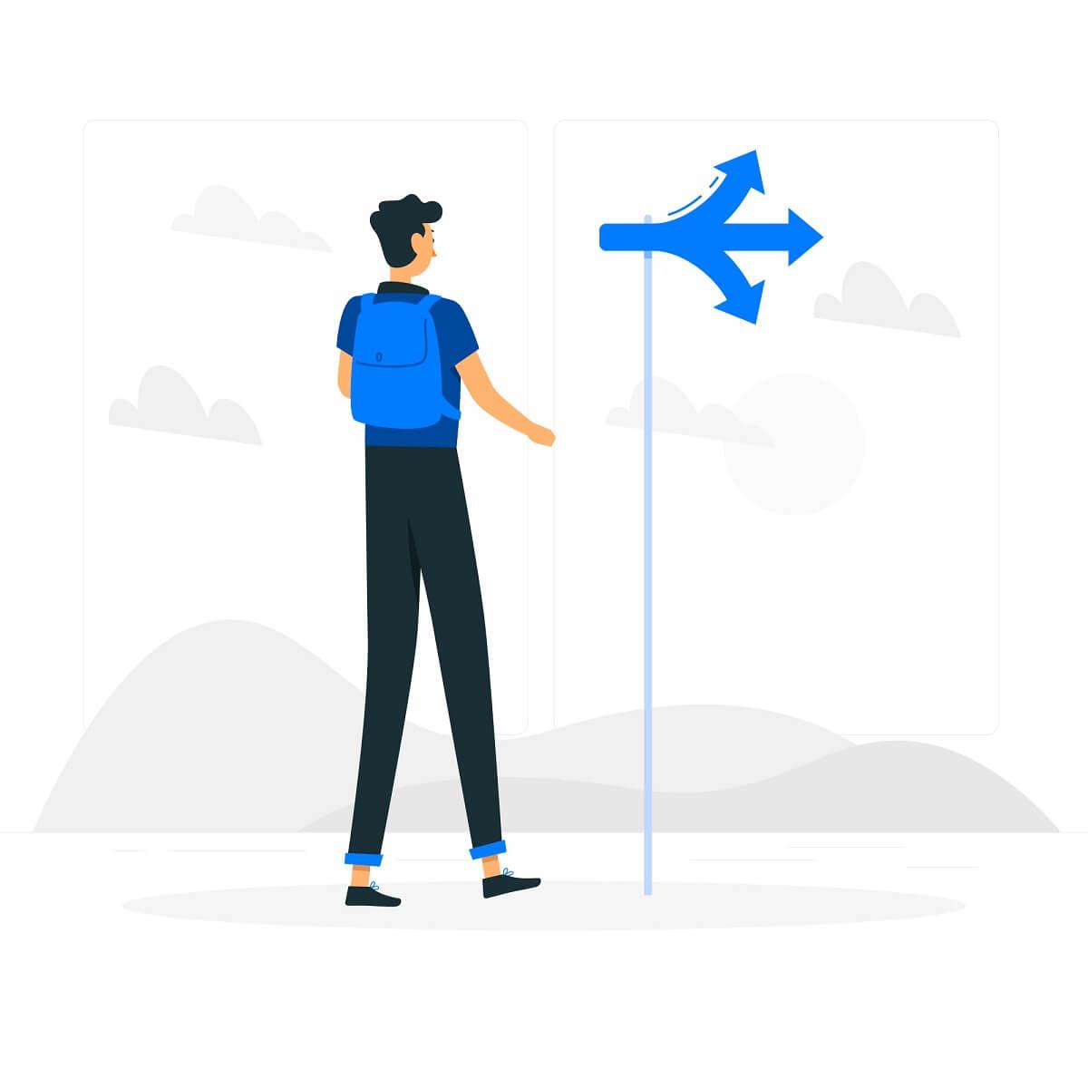 道の分岐点を表したイラスト。