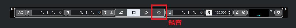 トランスポートパネルの録音ボタンの解説図。