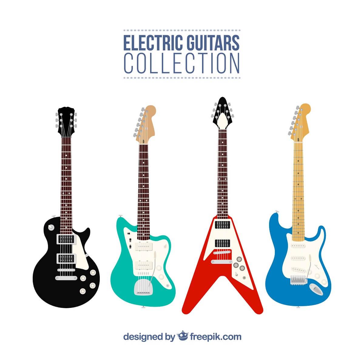 エレキギターが4つ並んでいる様子。