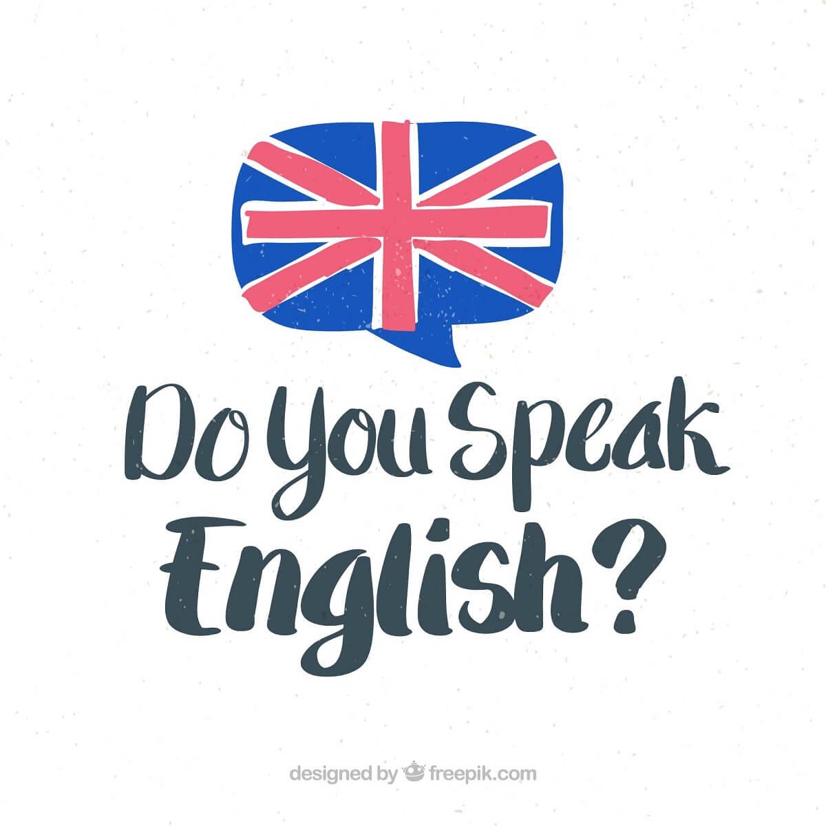 イギリスの国旗とDo you speak Englishと書かれたイラスト。