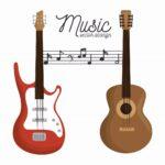 エレキギターとアコースティックギターのベクター画像。