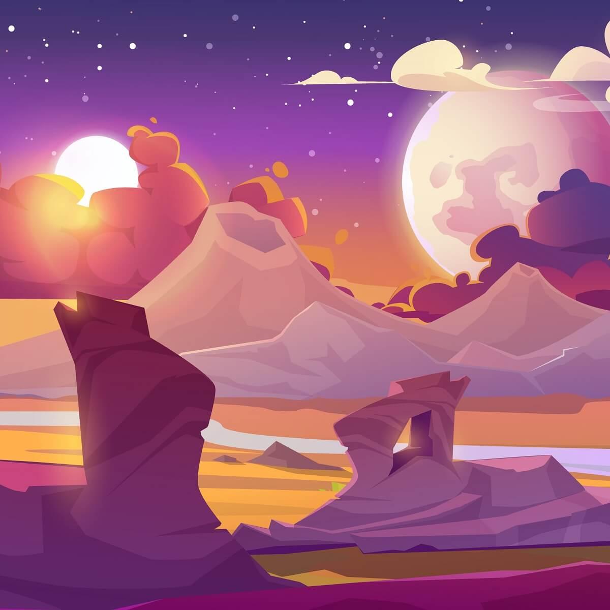 ゲーム世界を表したイラスト。