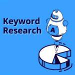 「Keyword Research」という文字の入ったロボットのイラスト。