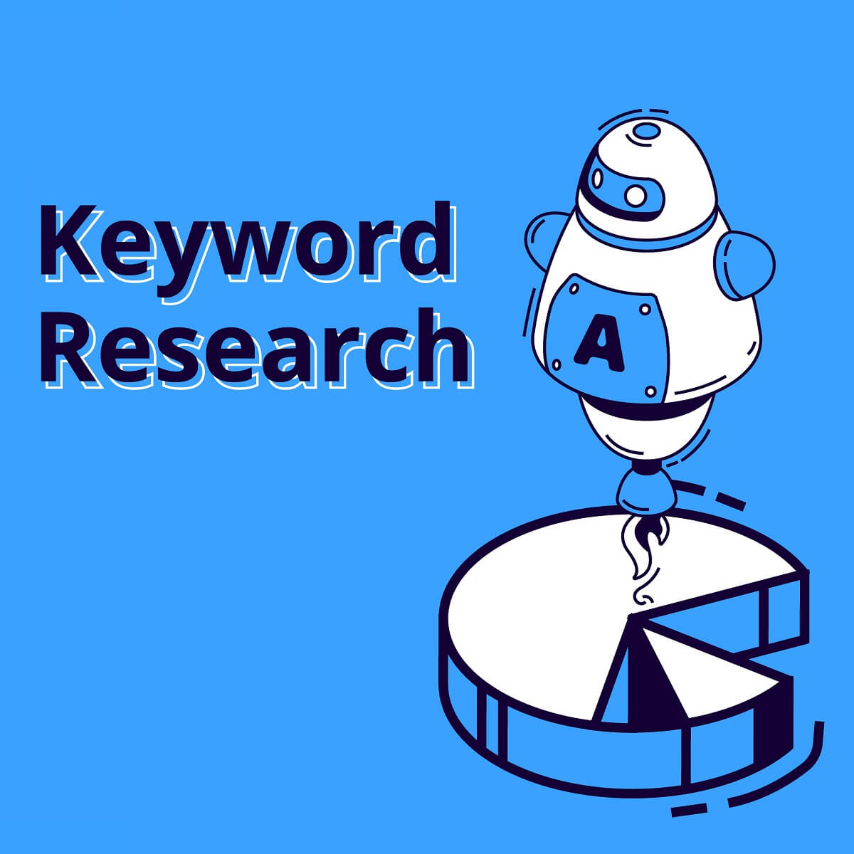 「Keyword Research」という文字の入ったロボットのイラスト。