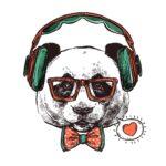 蝶ネクタイをした犬がヘッド本をしているイラスト。